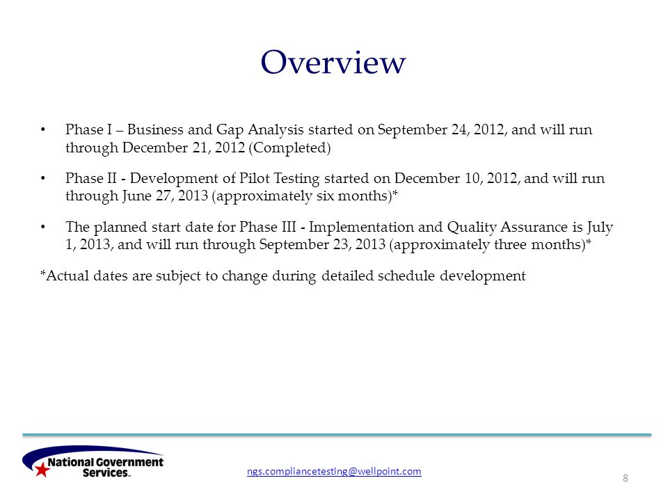 Overview Phase I – Business and Gap Analysis started on September 24, 2012, and will run through December 21, 2012 (Completed) Phase II - Development of Pilot Testing started on December 10, 2012, and will run through June 27, 2013 (approximately six months)* The planned start date for Phase III - Implementation and Quality Assurance is July 1, 2013, and will run through September 23, 2013 (approximately three months)* *Actual dates are subject to change during detailed schedule development 8 ngs.compliancetesting@wellpoint.com