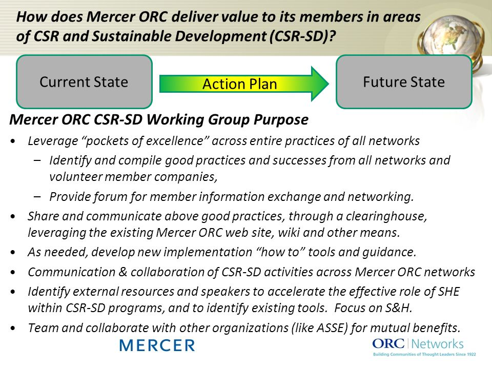 Mercer ORC CSR-SD Working Group Purpose Leverage pockets of excellence across entire practices of all networks –Identify and compile good practices and successes from all networks and volunteer member companies, –Provide forum for member information exchange and networking.