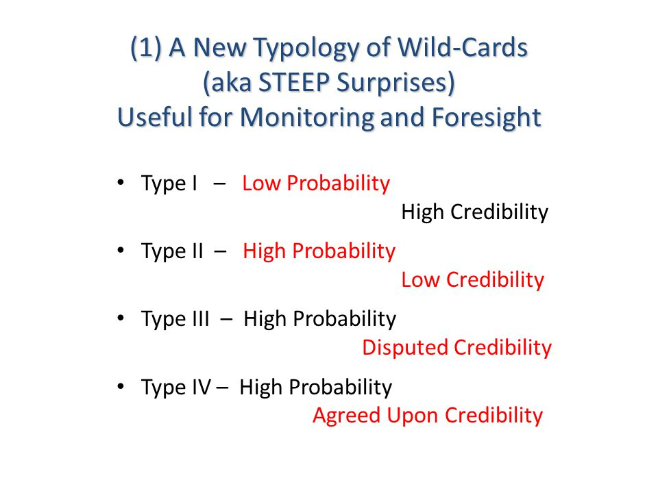 (1) A New Typology of Wild-Cards (aka STEEP Surprises) Useful for Monitoring and Foresight Type I – Low Probability High Credibility Type II – High Probability Low Credibility Type III – High Probability Disputed Credibility Type IV – High Probability Agreed Upon Credibility
