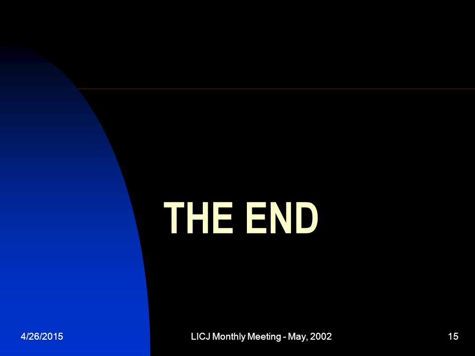 4/26/2015LICJ Monthly Meeting - May, 200215 THE END