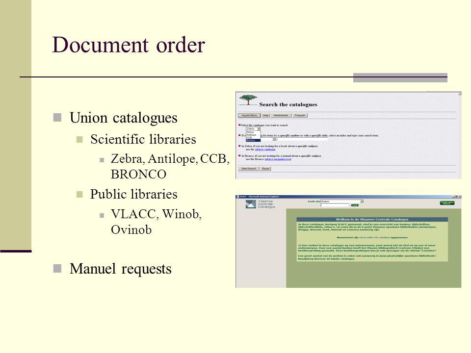 Document order Union catalogues Scientific libraries Zebra, Antilope, CCB, BRONCO Public libraries VLACC, Winob, Ovinob Manuel requests