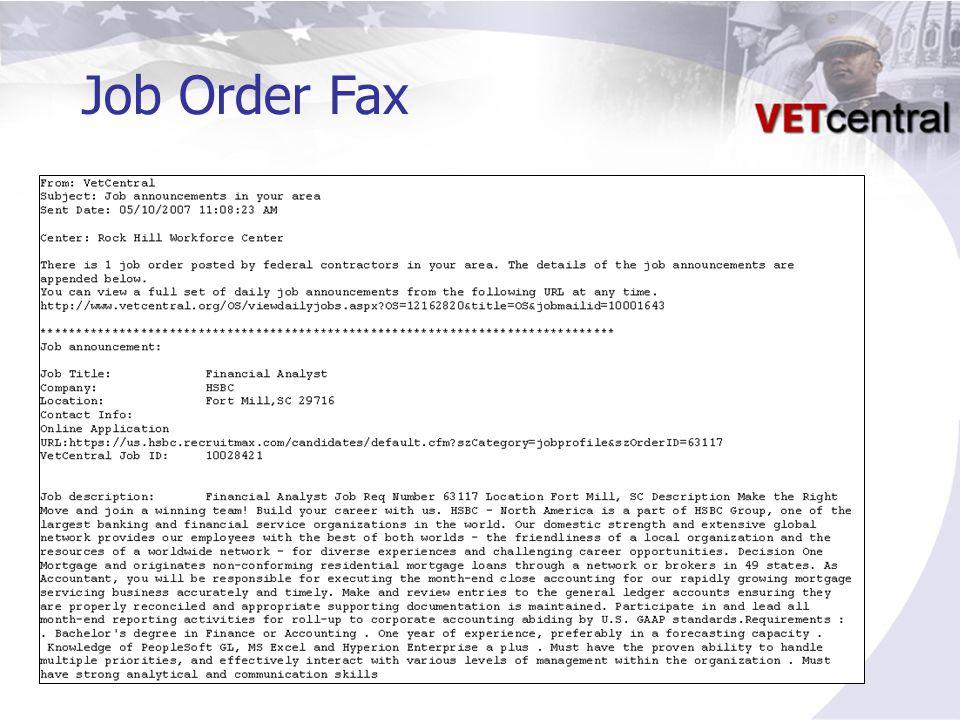 Job Order Fax