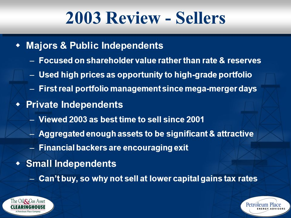 2003 Review - Sellers  Majors & Public Independents –Focused on shareholder value rather than rate & reserves –Used high prices as opportunity to high-grade portfolio –First real portfolio management since mega-merger days  Private Independents –Viewed 2003 as best time to sell since 2001 –Aggregated enough assets to be significant & attractive –Financial backers are encouraging exit  Small Independents –Can't buy, so why not sell at lower capital gains tax rates