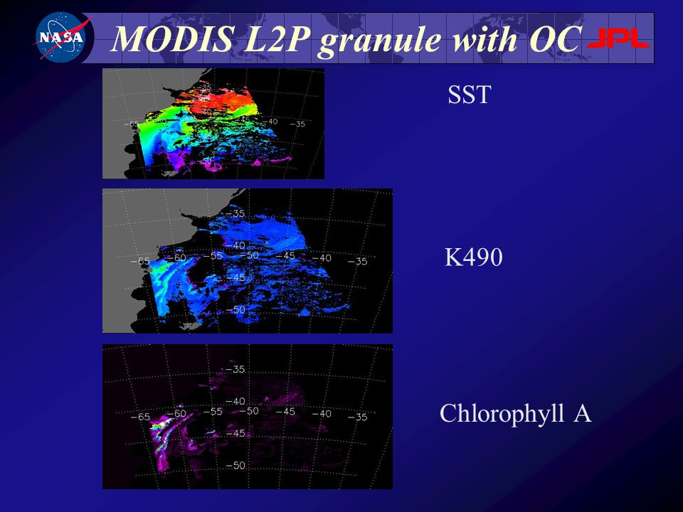 MODIS L2P granule with OC SST K490 Chlorophyll A