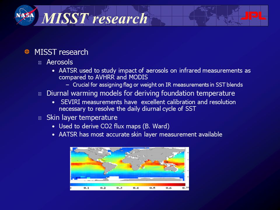 MISST research Aerosols AATSR used to study impact of aerosols on infrared measurements as compared to AVHRR and MODIS –Crucial for assigning flag or