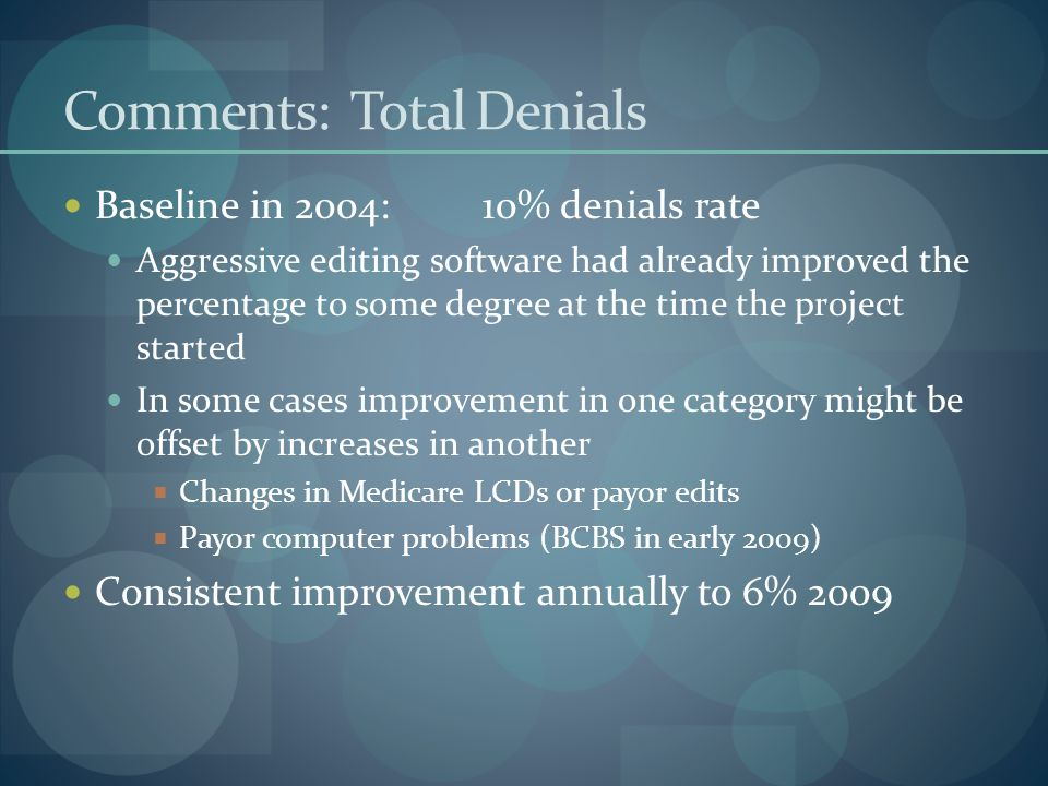 Comments: Total Denials Baseline in 2004:10% denials rate Aggressive editing software had already improved the percentage to some degree at the time the project started In some cases improvement in one category might be offset by increases in another  Changes in Medicare LCDs or payor edits  Payor computer problems (BCBS in early 2009) Consistent improvement annually to 6% 2009