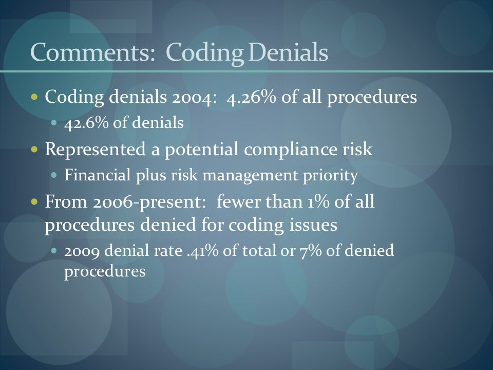 Comments: Coding Denials Coding denials 2004: 4.26% of all procedures 42.6% of denials Represented a potential compliance risk Financial plus risk management priority From 2006-present: fewer than 1% of all procedures denied for coding issues 2009 denial rate.41% of total or 7% of denied procedures