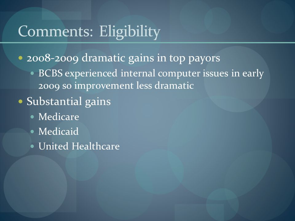 Comments: Eligibility 2008-2009 dramatic gains in top payors BCBS experienced internal computer issues in early 2009 so improvement less dramatic Substantial gains Medicare Medicaid United Healthcare