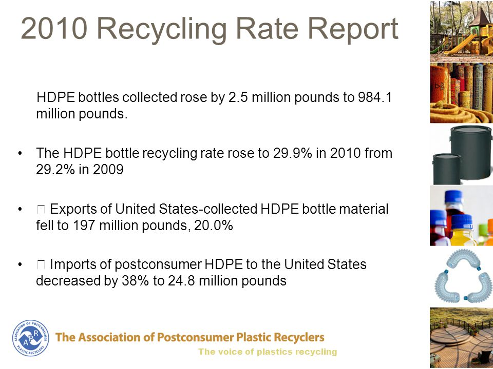 The voice of plastics recycling 2010 Recycling Rate Report HDPE bottles collected rose by 2.5 million pounds to 984.1 million pounds.