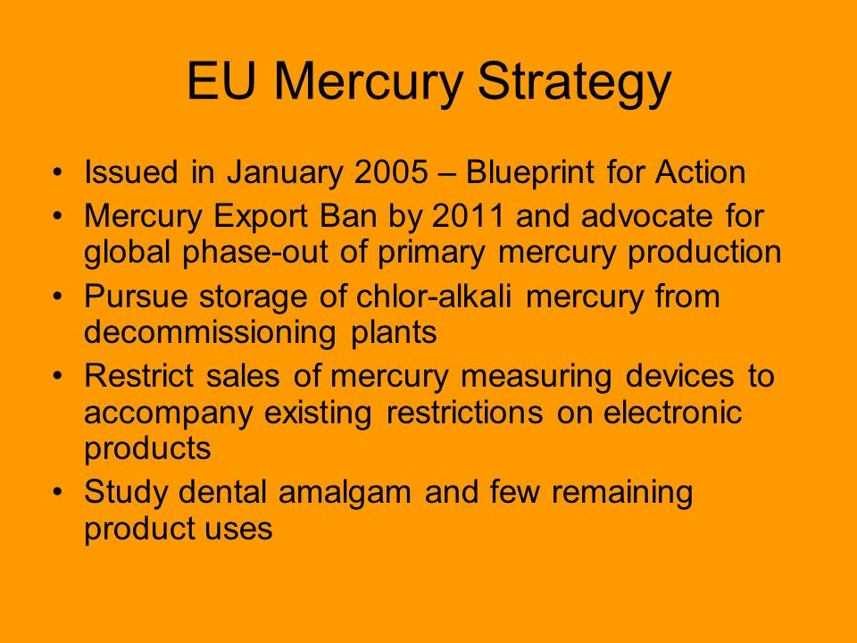 EU Mercury Strategy Issued in January 2005 – Blueprint for Action Mercury Export Ban by 2011 and advocate for global phase-out of primary mercury production Pursue storage of chlor-alkali mercury from decommissioning plants Restrict sales of mercury measuring devices to accompany existing restrictions on electronic products Study dental amalgam and few remaining product uses