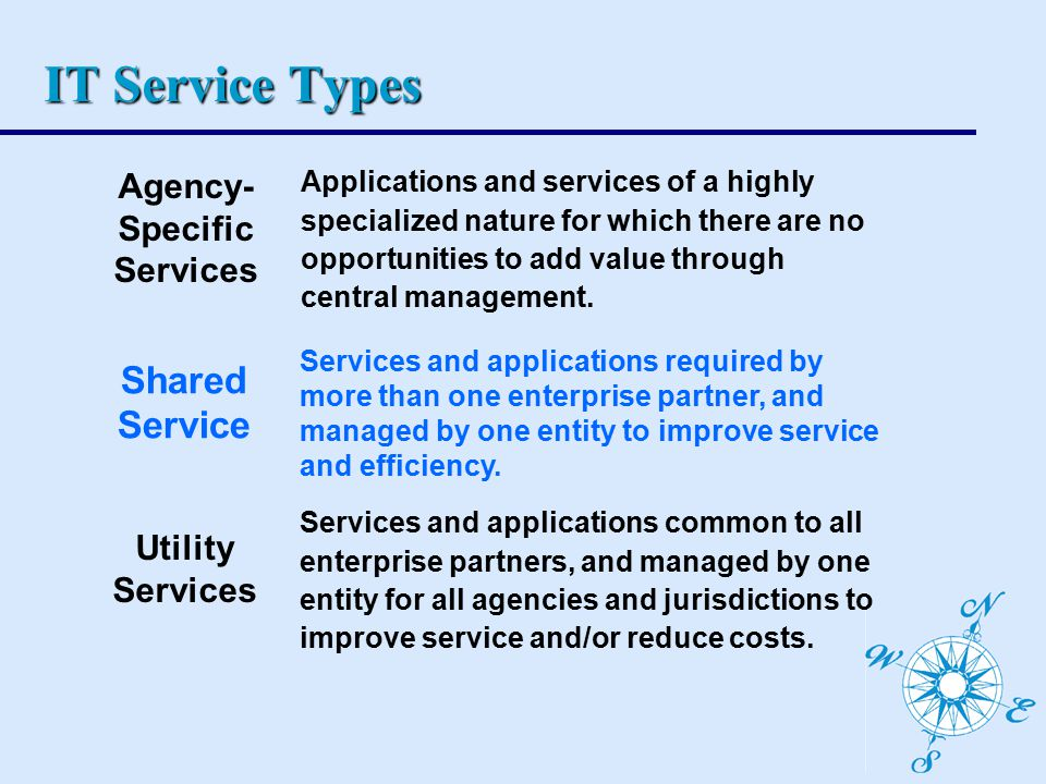 IT Service Types Utility Services Services and applications common to all enterprise partners, and managed by one entity for all agencies and jurisdictions to improve service and/or reduce costs.