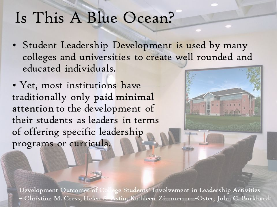 Is This A Blue Ocean? Student Leadership Development is used by many colleges and universities to create well rounded and educated individuals. Develo