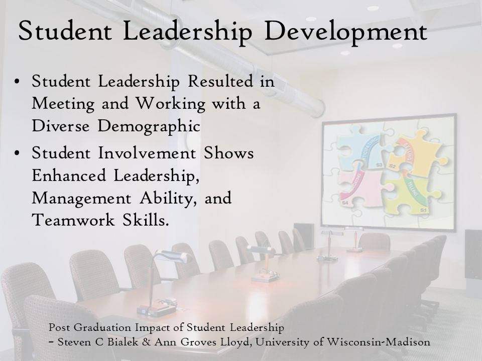 Student Leadership Development Student Leadership Resulted in Meeting and Working with a Diverse Demographic Student Involvement Shows Enhanced Leadership, Management Ability, and Teamwork Skills.
