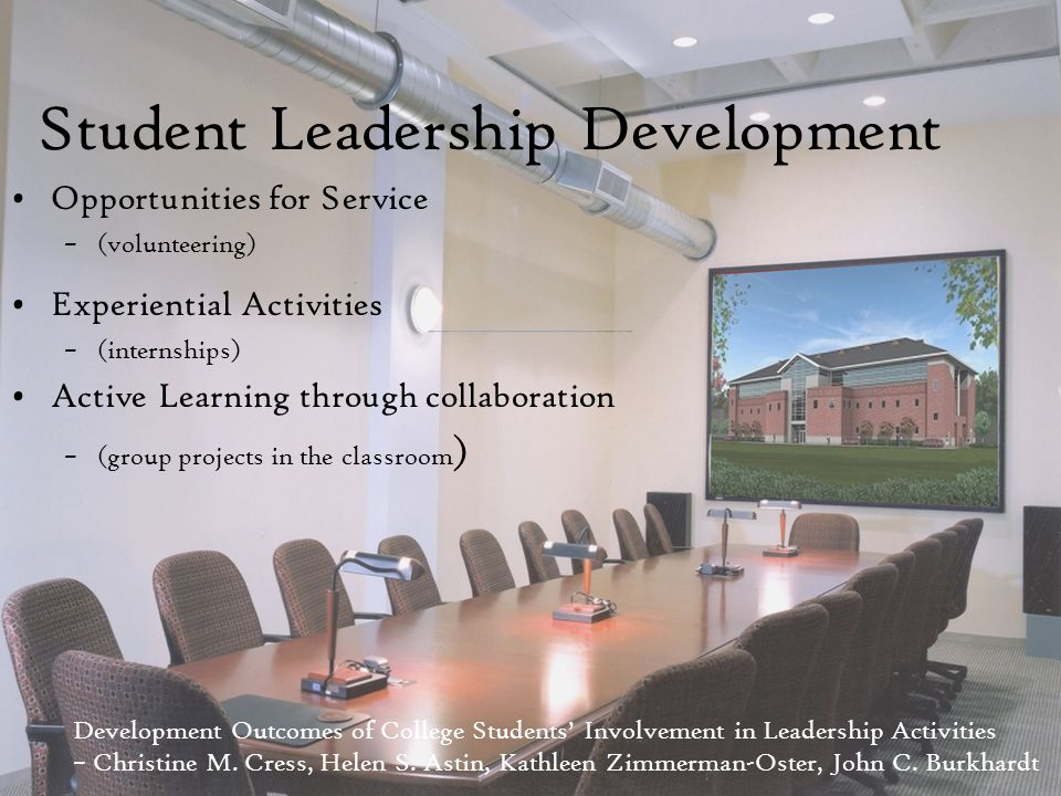 Student Leadership Development Opportunities for Service –(volunteering) Experiential Activities –(internships) Active Learning through collaboration