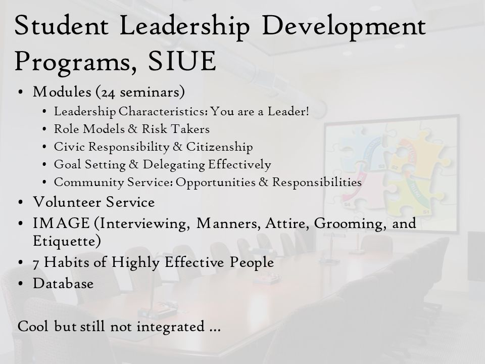 Student Leadership Development Programs, SIUE Modules (24 seminars) Leadership Characteristics: You are a Leader.