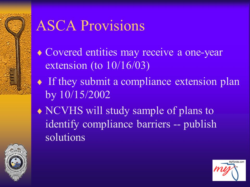 ASCA Provisions  Covered entities may receive a one-year extension (to 10/16/03)  If they submit a compliance extension plan by 10/15/2002  NCVHS w