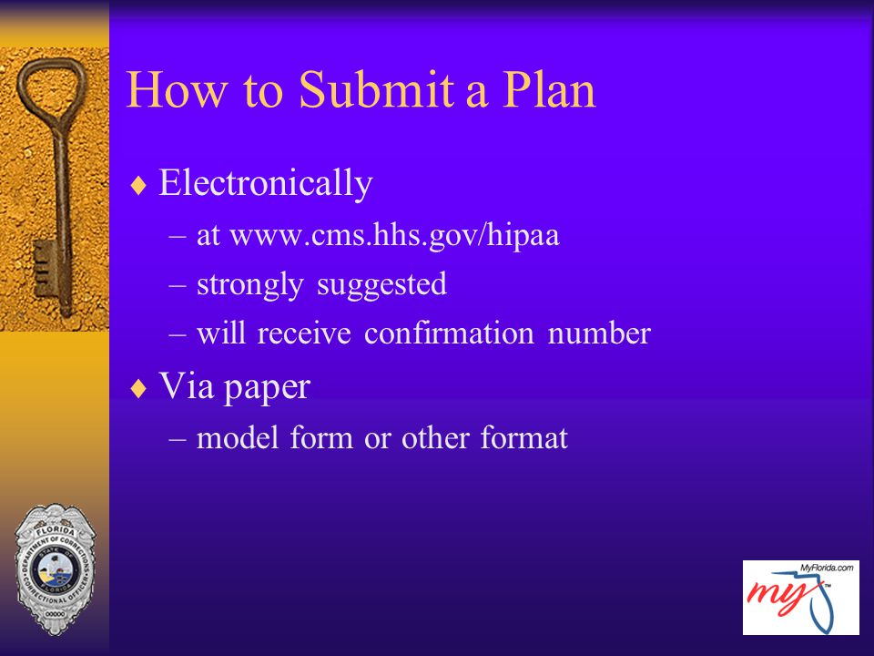 How to Submit a Plan  Electronically –at www.cms.hhs.gov/hipaa –strongly suggested –will receive confirmation number  Via paper –model form or other
