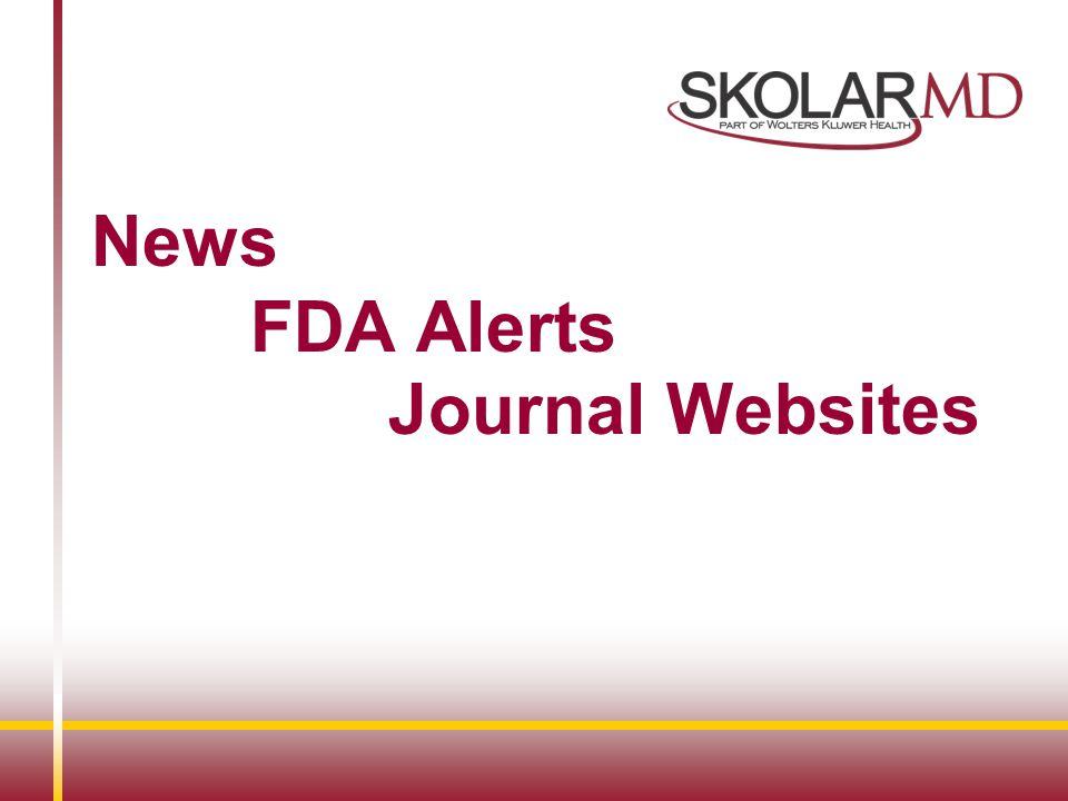 News FDA Alerts Journal Websites