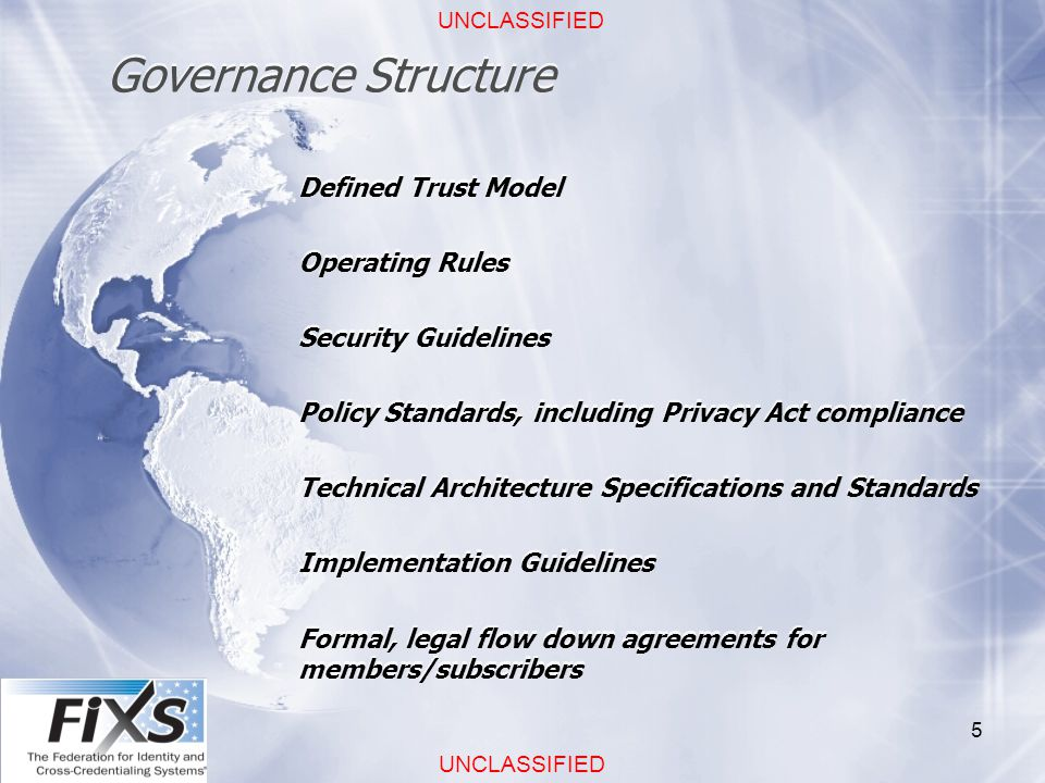 UNCLASSIFIED 5 Governance Structure Defined Trust Model Operating Rules Security Guidelines Policy Standards, including Privacy Act compliance Technical Architecture Specifications and Standards Implementation Guidelines Formal, legal flow down agreements for members/subscribers Defined Trust Model Operating Rules Security Guidelines Policy Standards, including Privacy Act compliance Technical Architecture Specifications and Standards Implementation Guidelines Formal, legal flow down agreements for members/subscribers