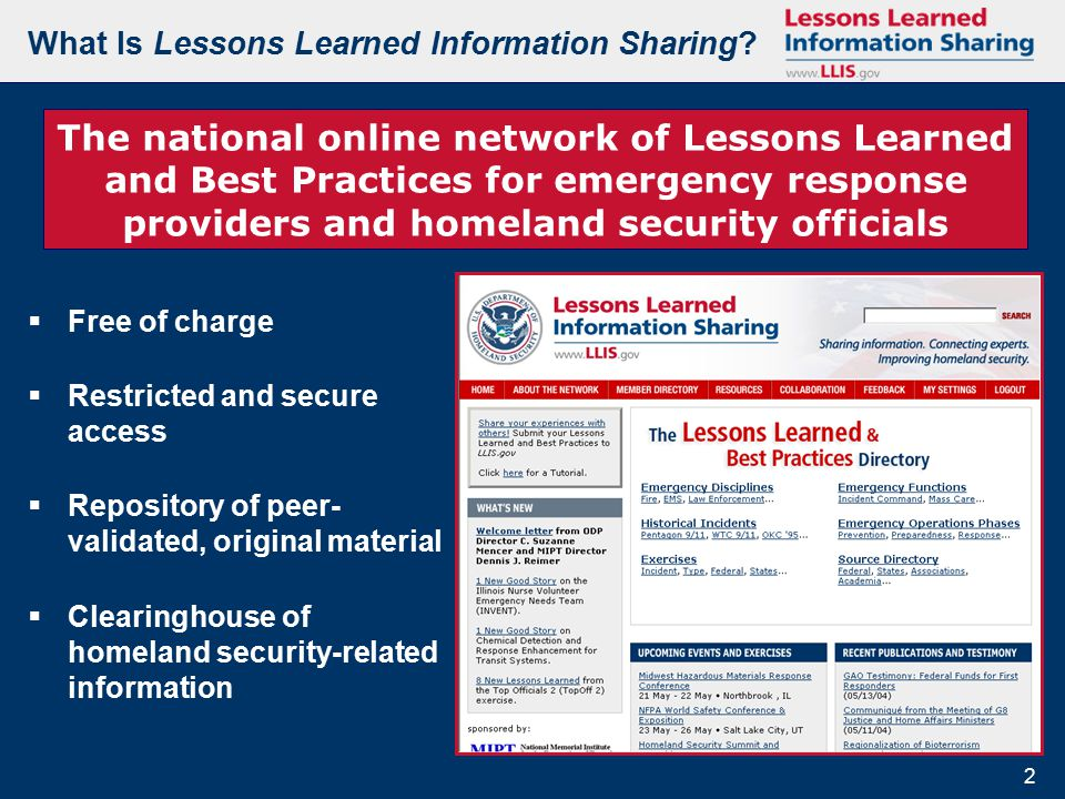 2 2 What Is Lessons Learned Information Sharing.