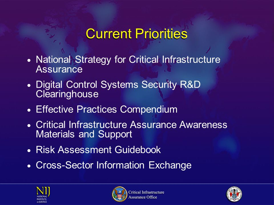 Current Priorities  National Strategy for Critical Infrastructure Assurance  Digital Control Systems Security R&D Clearinghouse  Effective Practices Compendium  Critical Infrastructure Assurance Awareness Materials and Support  Risk Assessment Guidebook  Cross-Sector Information Exchange