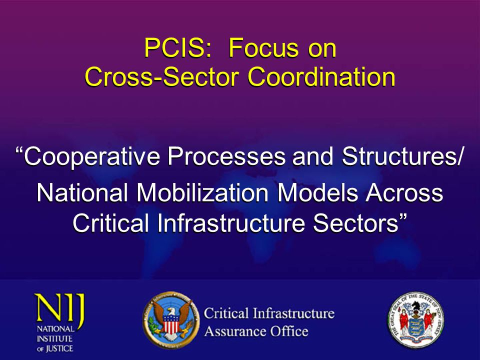 National Strategy Process NSANSA CIACIA StateState GSAGSA WaterWater Law Enforcement RailroadsRailroads Banking and Finance Electric Power Oil and Gas Info and Comms TreasuryTreasury EnergyEnergy CommerceCommerce TransportationTransportation JusticeJustice FEMAFEMA H&HSH&HS DefenseDefense CIAOCIAO National Strategy for Critical Infrastructure Assurance 2002 PCISPCIS EPAEPA