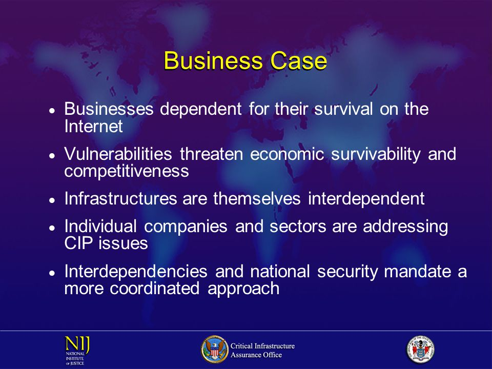 Business Case  Businesses dependent for their survival on the Internet  Vulnerabilities threaten economic survivability and competitiveness  Infrastructures are themselves interdependent  Individual companies and sectors are addressing CIP issues  Interdependencies and national security mandate a more coordinated approach