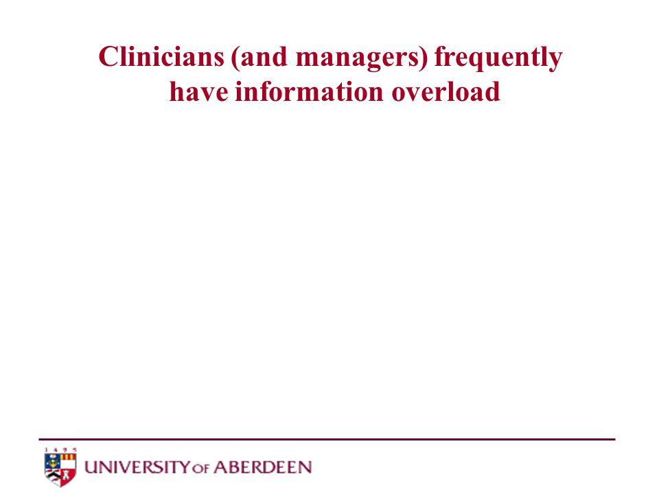 Clinicians (and managers) frequently have information overload