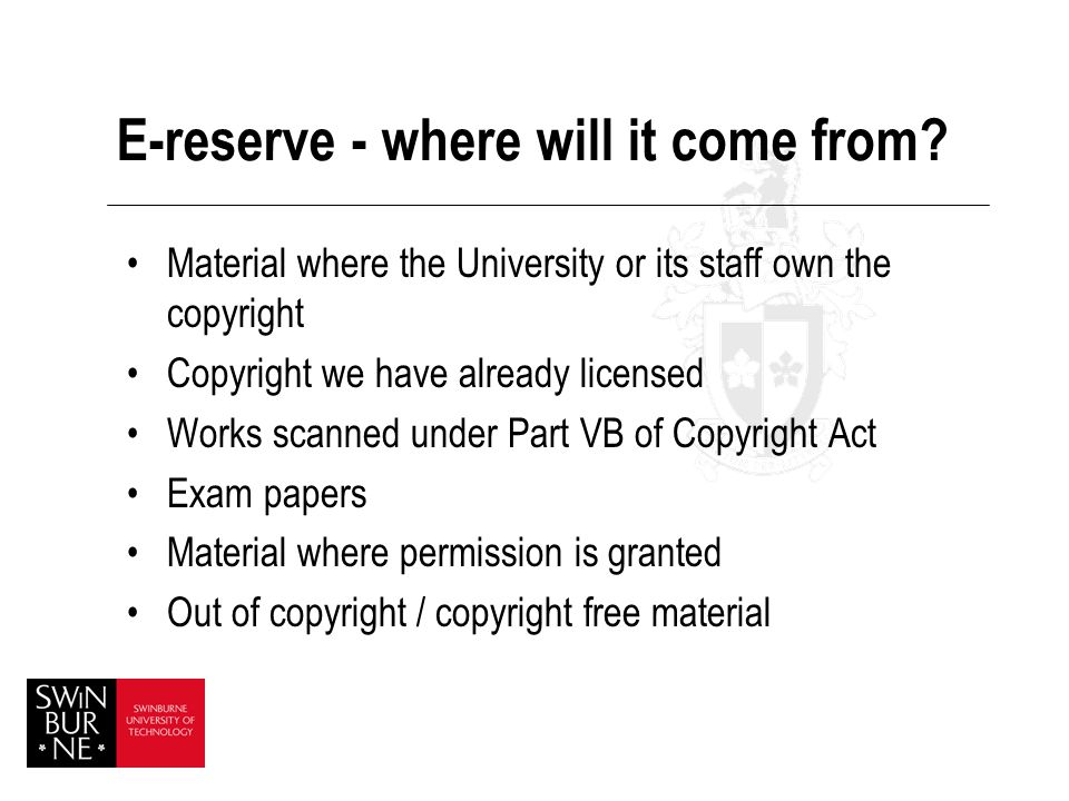 E-reserve - where will it come from.