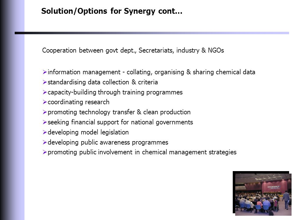 Solution/Options for Synergy cont… Cooperation between govt dept., Secretariats, industry & NGOs  information management - collating, organising & sharing chemical data  standardising data collection & criteria  capacity-building through training programmes  coordinating research  promoting technology transfer & clean production  seeking financial support for national governments  developing model legislation  developing public awareness programmes  promoting public involvement in chemical management strategies