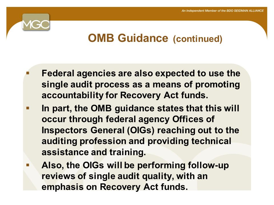 14 OMB Guidance (continued)  Federal agencies are also expected to use the single audit process as a means of promoting accountability for Recovery Act funds.