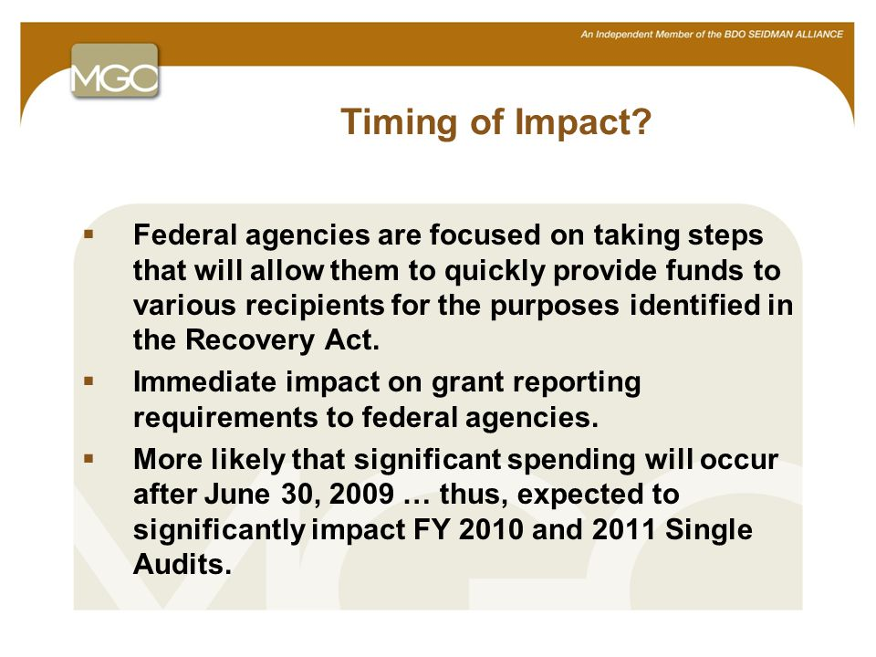 16 OMB Compliance Supplement  OMB issued 2009 Compliance Supplement New Recovery Act guidance in Appendix VII Addenda to be issued at the end of each month, beginning with June 2009 −Add new programs −Modify existing programs −Add compliance requirements −Identify clusters