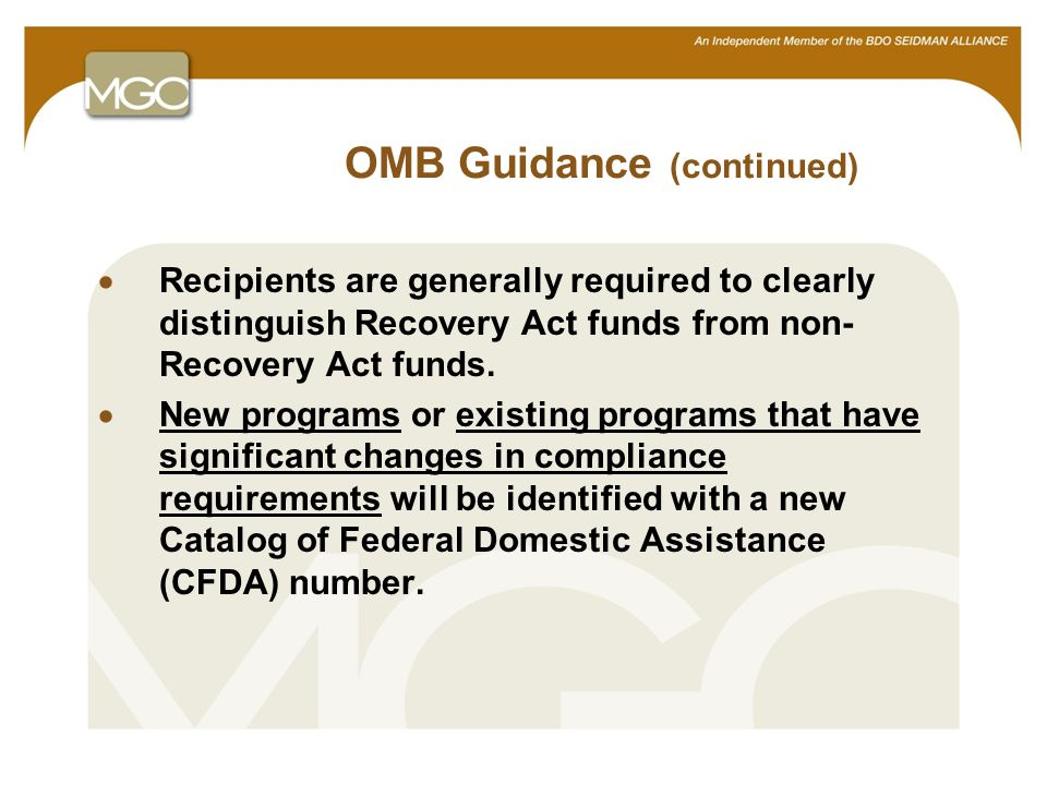 9 OMB Guidance (continued)  Recipients are generally required to clearly distinguish Recovery Act funds from non- Recovery Act funds.