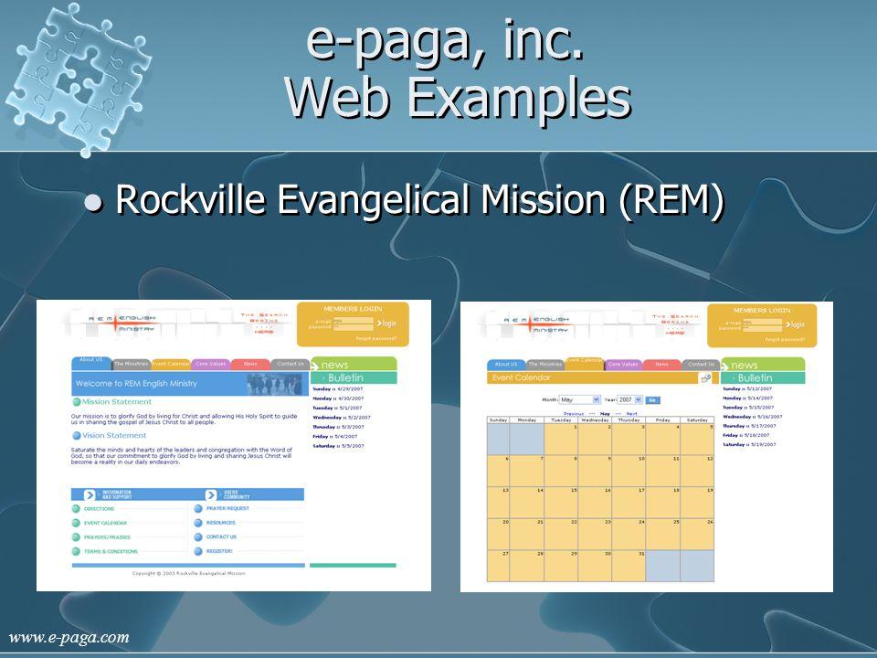 www.e-paga.com e-paga, inc. Web Examples Rockville Evangelical Mission (REM)