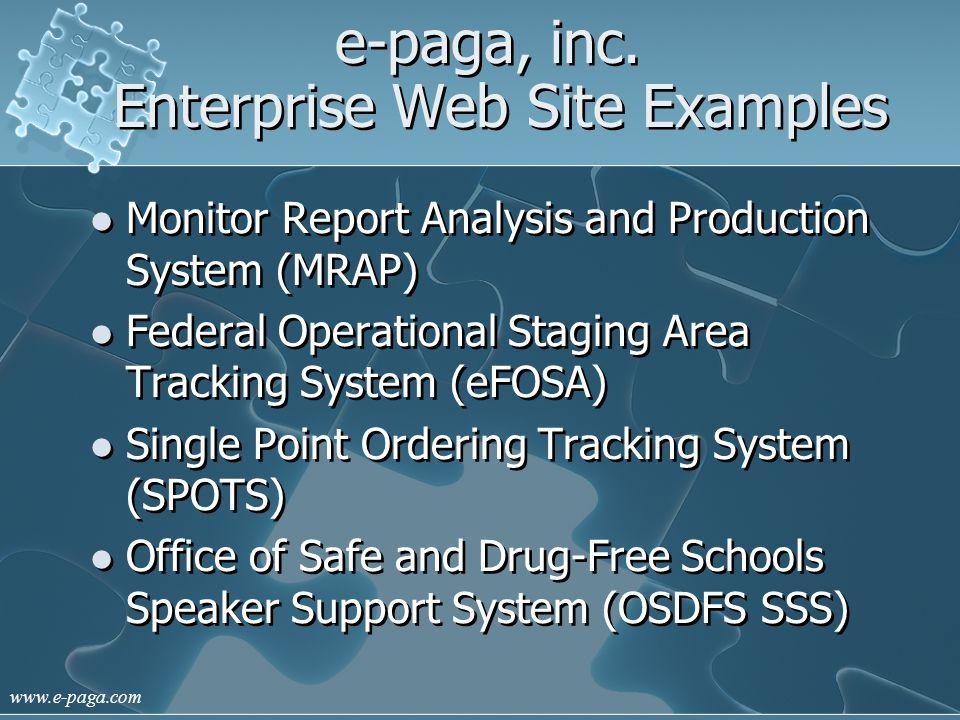 www.e-paga.com e-paga, inc. Web Examples eFOSA and SPOTS Federal Emergency Management Agency (FEMA)