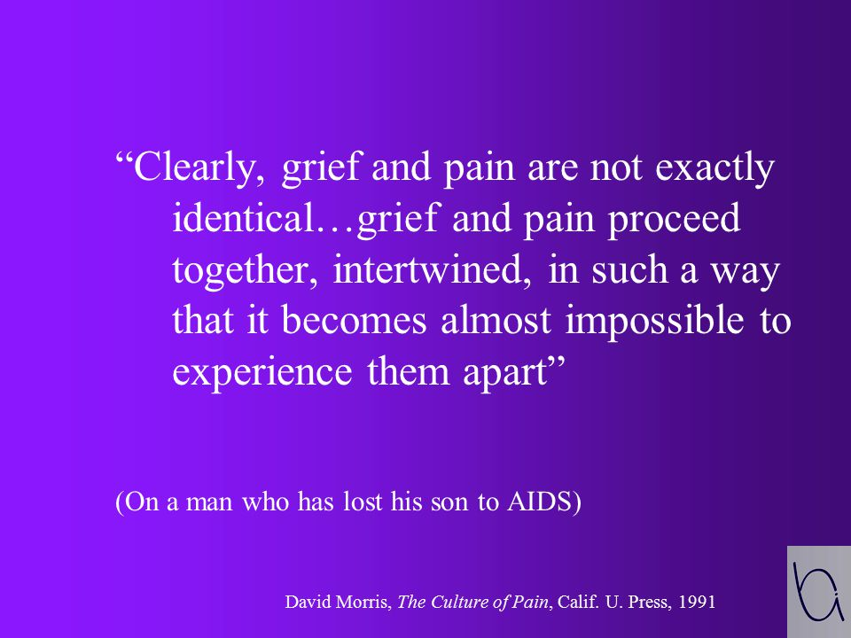 Clearly, grief and pain are not exactly identical…grief and pain proceed together, intertwined, in such a way that it becomes almost impossible to experience them apart (On a man who has lost his son to AIDS) David Morris, The Culture of Pain, Calif.