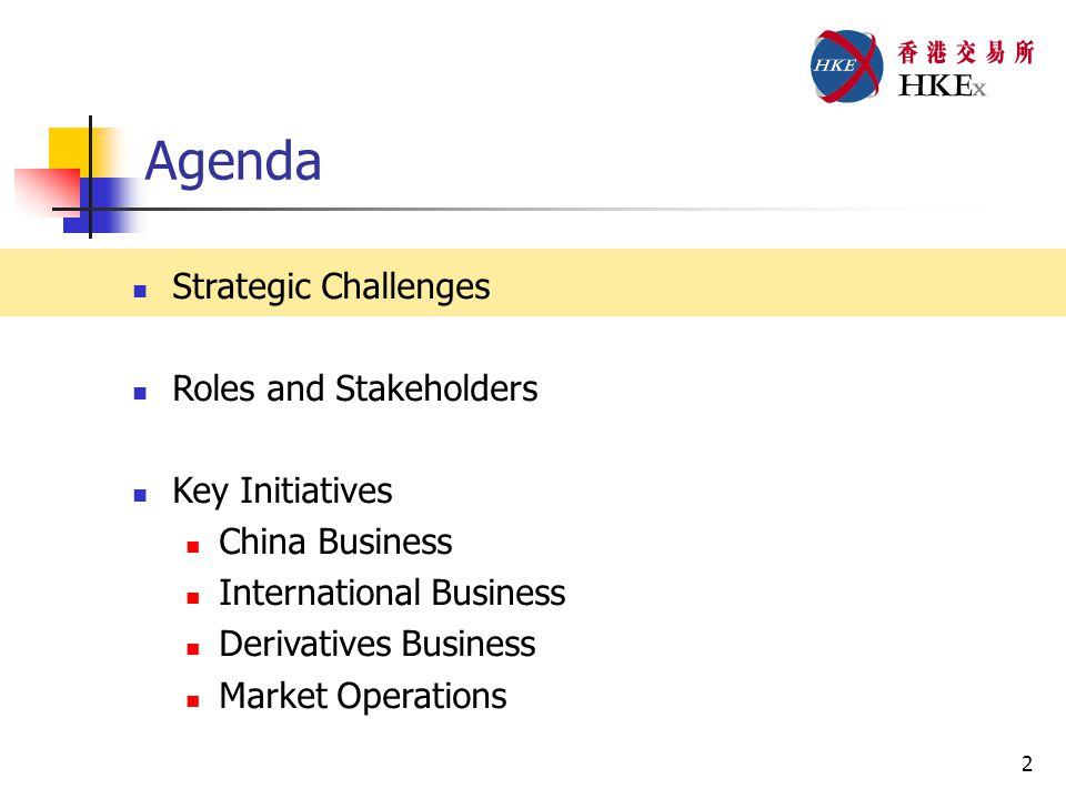 2 Agenda Strategic Challenges Roles and Stakeholders Key Initiatives China Business International Business Derivatives Business Market Operations