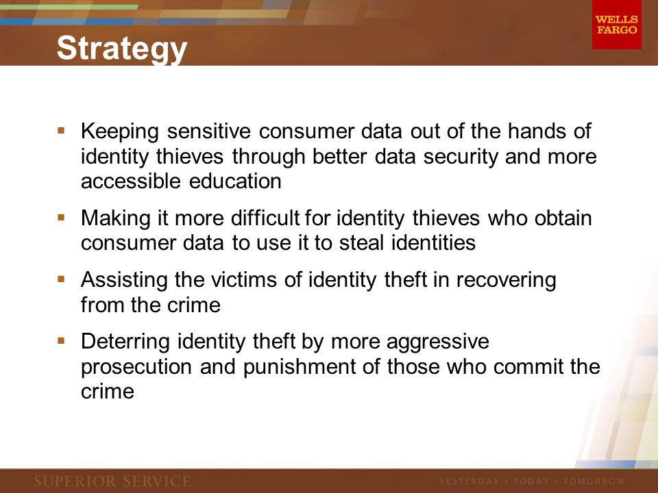 Strategy  Keeping sensitive consumer data out of the hands of identity thieves through better data security and more accessible education  Making it more difficult for identity thieves who obtain consumer data to use it to steal identities  Assisting the victims of identity theft in recovering from the crime  Deterring identity theft by more aggressive prosecution and punishment of those who commit the crime