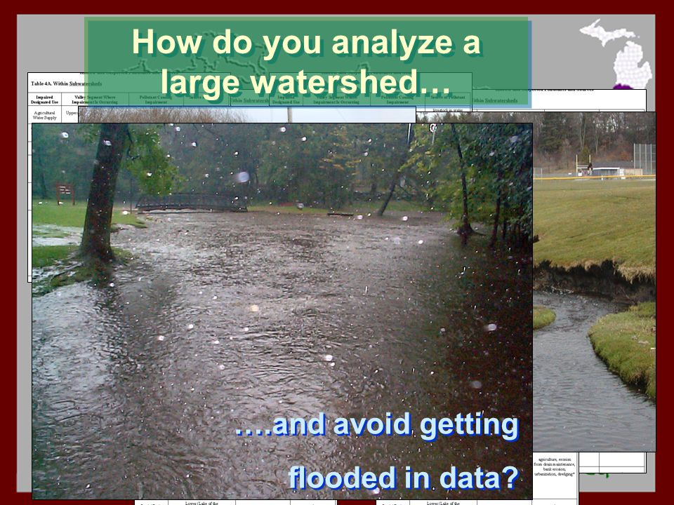 How do you analyze a large watershed… ….and avoid getting flooded in data.