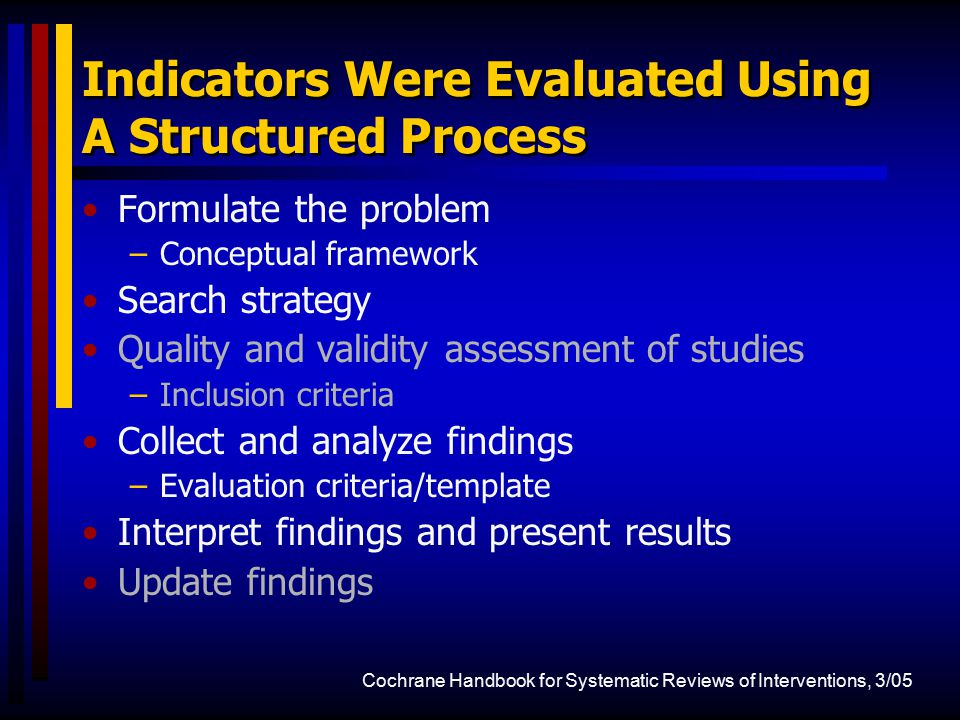 Indicators Were Evaluated Using A Structured Process Formulate the problem –Conceptual framework Search strategy Quality and validity assessment of st
