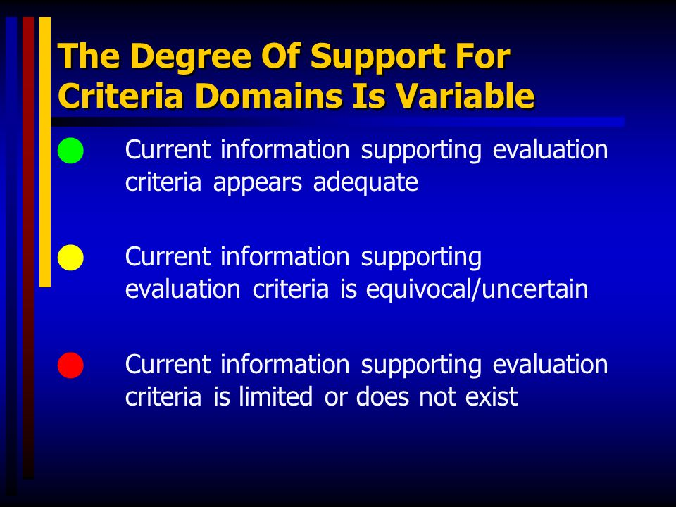 The Degree Of Support For Criteria Domains Is Variable Current information supporting evaluation criteria appears adequate Current information support