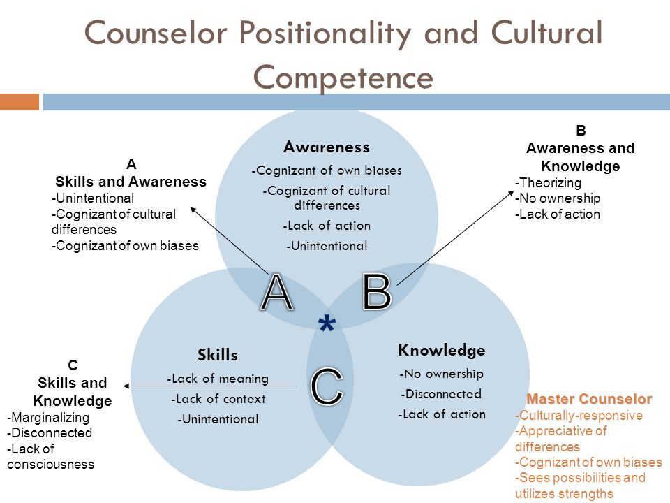 Counselor Positionality and Cultural Competence Awareness -Cognizant of own biases -Cognizant of cultural differences -Lack of action -Unintentional K