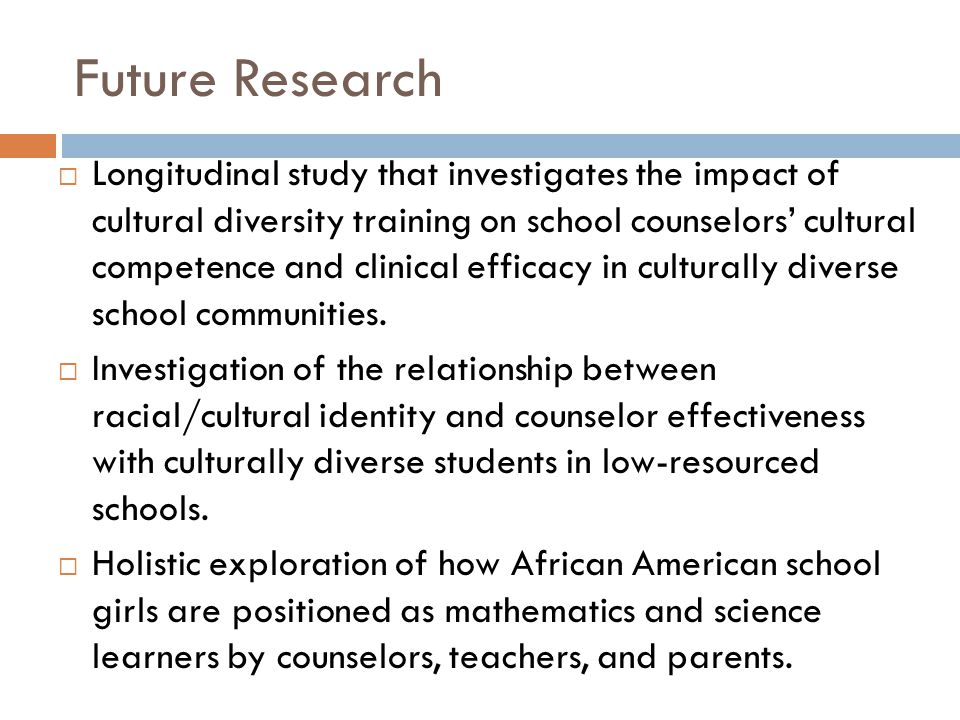 Future Research  Longitudinal study that investigates the impact of cultural diversity training on school counselors' cultural competence and clinica