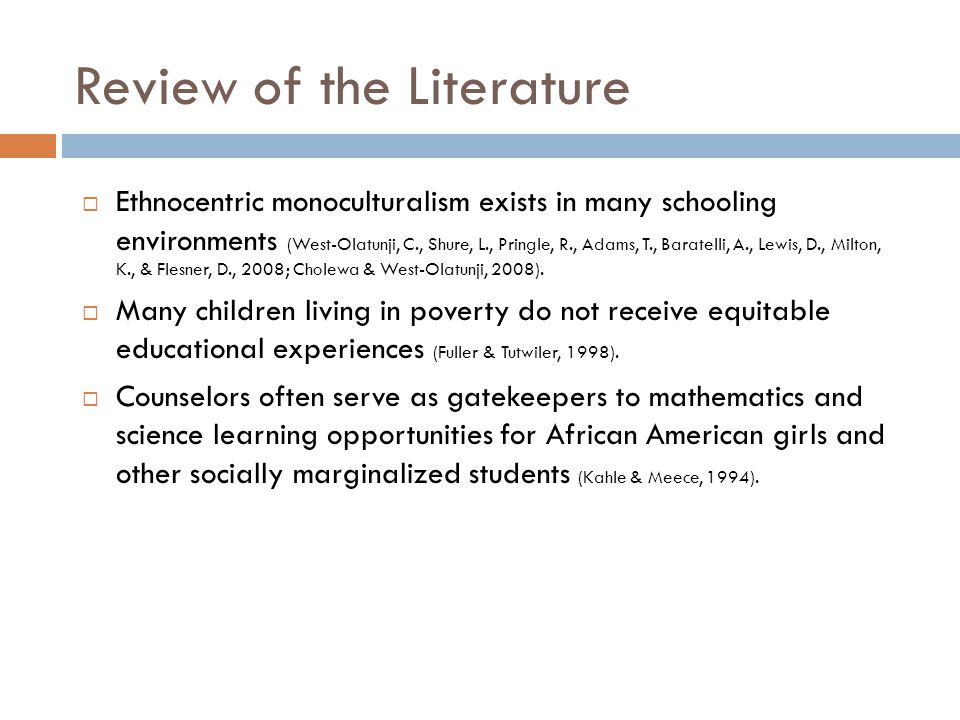 Review of the Literature  Ethnocentric monoculturalism exists in many schooling environments (West-Olatunji, C., Shure, L., Pringle, R., Adams, T., B