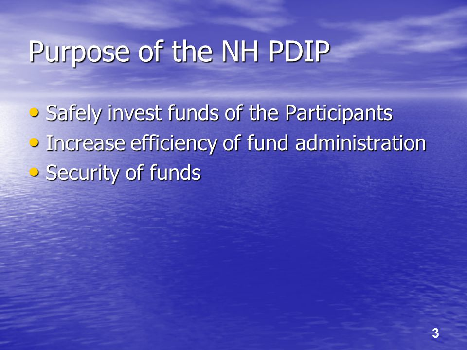 3 Purpose of the NH PDIP Safely invest funds of the Participants Safely invest funds of the Participants Increase efficiency of fund administration In