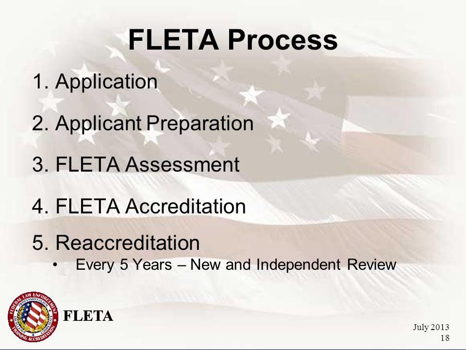 FLETA July 2013 18 FLETA Process 1.Application 2.Applicant Preparation 3.FLETA Assessment 4.FLETA Accreditation 5.Reaccreditation Every 5 Years – New and Independent Review FLETA