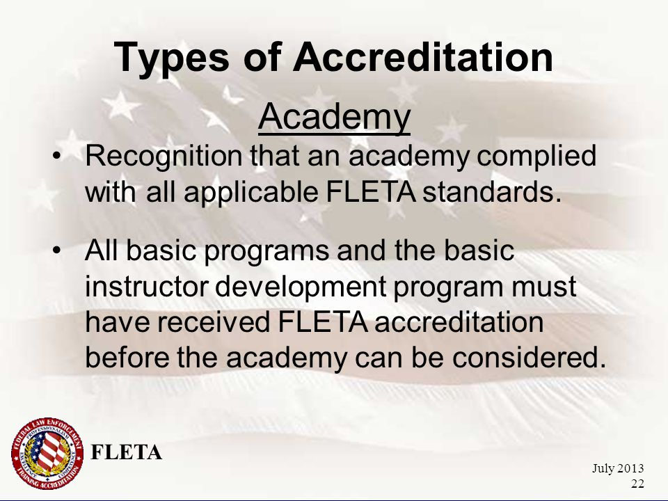 FLETA July 2013 22 Types of Accreditation Academy Recognition that an academy complied with all applicable FLETA standards.