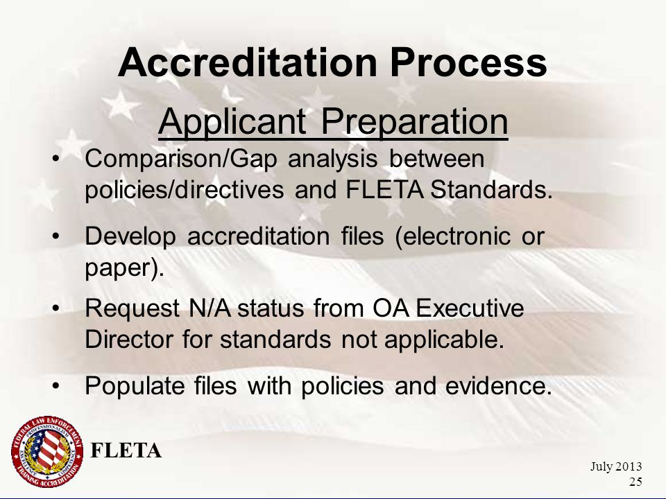 FLETA July 2013 25 Accreditation Process Applicant Preparation Comparison/Gap analysis between policies/directives and FLETA Standards.