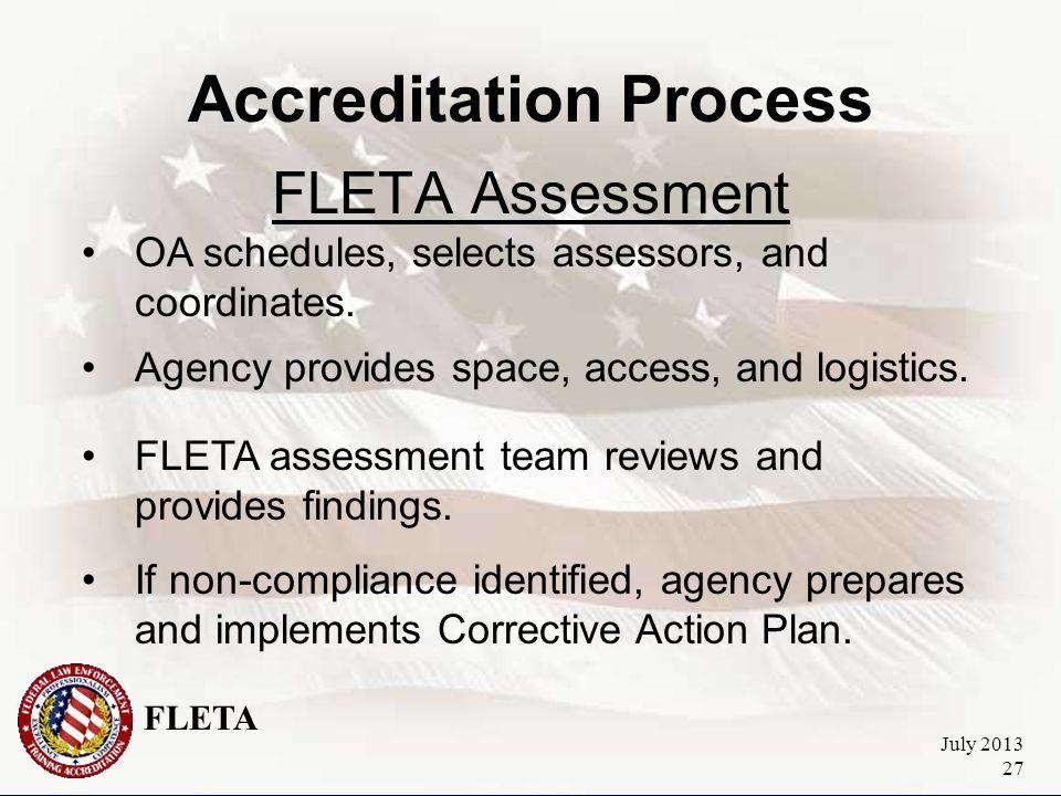 FLETA July 2013 27 Accreditation Process FLETA Assessment OA schedules, selects assessors, and coordinates.