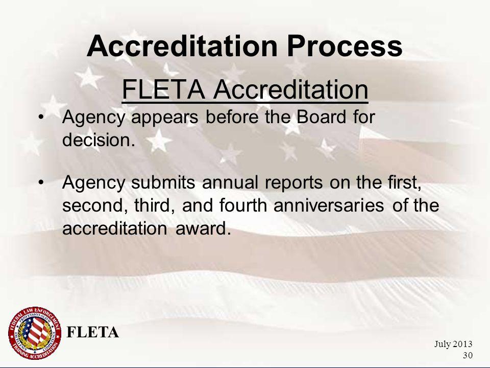 FLETA July 2013 30 Accreditation Process FLETA Accreditation Agency appears before the Board for decision.